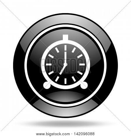 alarm black glossy icon