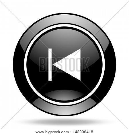 prev black glossy icon