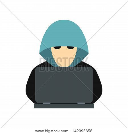 Hacker behind a computer icon in flat style isolated on white background. Cracking symbol