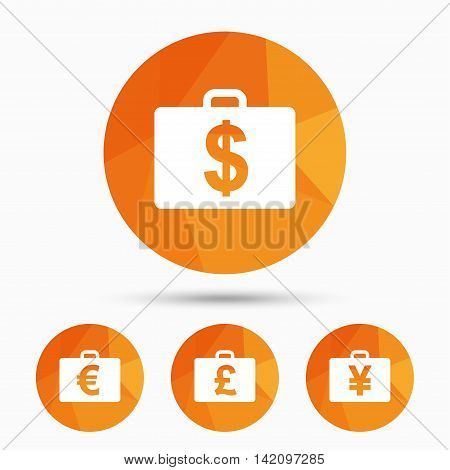 Businessman case icons. Cash money diplomat signs. Dollar, euro and pound symbols. Triangular low poly buttons with shadow. Vector