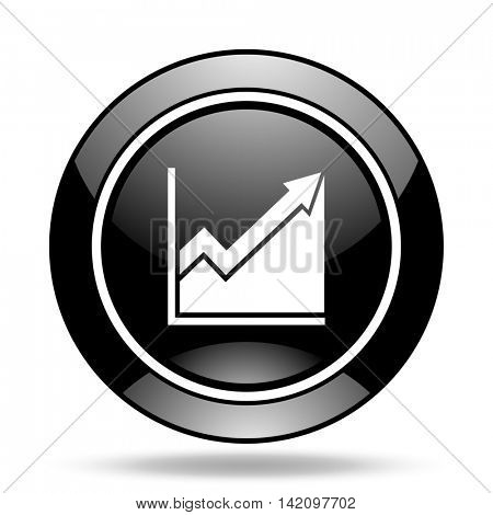 histogram black glossy icon