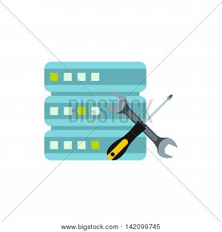 Configuring cells for data storage icon in flat style isolated on white background. Settings symbol