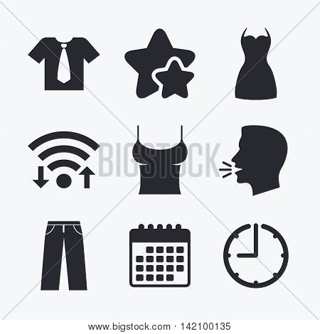 Clothes icons. T-shirt with business tie and pants signs. Women dress symbol. Wifi internet, favorite stars, calendar and clock. Talking head. Vector