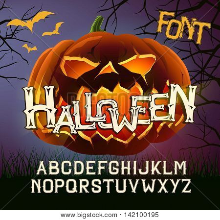 Halloween Font Capital Letters, for Halloween greeting Cards, Halloween poster with evil pumpkin.