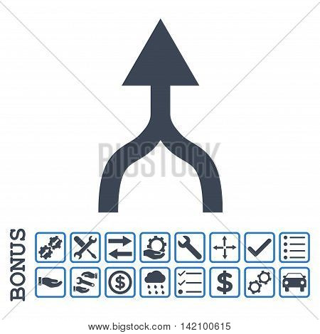 Combine Arrow Up icon with bonus pictograms. Glyph style is flat iconic symbol, smooth blue colors, white background. Bonus style is bicolor square rounded frames with symbols inside.