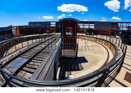 Scranton PA - June 20 2013: Steamtown National Historic Site is a railroad museum. Operated by the National Park Service it includes a turntable.