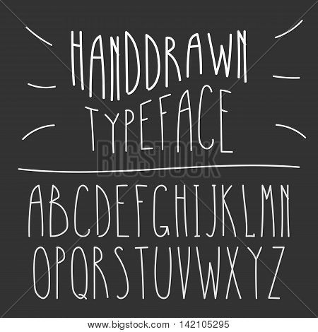 Narrow Handdrawn Mono Line Latin Font. Simple Slim Style Serif Alphabet. Vector