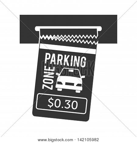 parking ticket auto zone paper pay money push card car vector graphic isolated and flat illustration