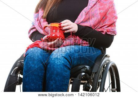 Crippled Lady On Wheelchair.