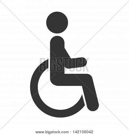 handicapped symbol wheelchair person human paralyze medical vector graphic isolated and flat illustration