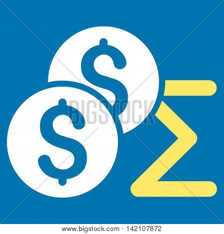 Coin Summary icon. Vector style is bicolor flat iconic symbol with rounded angles, yellow and white colors, blue background.
