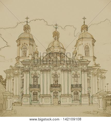 Saint Nicholas' Cathedral, Nikolsky sobor, popularly known as the Sailors' Chruch in Saint Petersburg, Russia . Vintage painting, background illustration, beautiful picture, travel texture