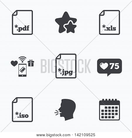 Download document icons. File extensions symbols. PDF, XLS, JPG and ISO virtual drive signs. Flat talking head, calendar icons. Stars, like counter icons. Vector