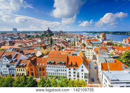 Rostock, Germany old city skyline.