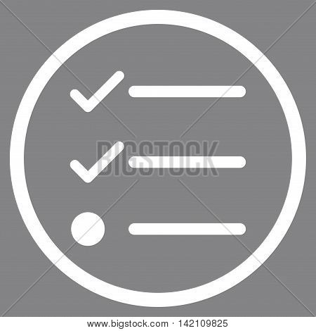 Checklist vector icon. Style is flat rounded iconic symbol, checklist icon is drawn with white color on a gray background.