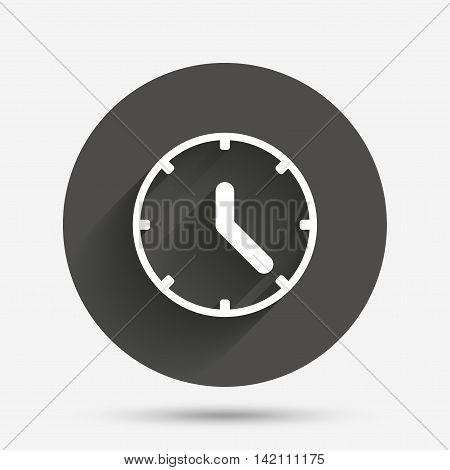 Clock sign icon. Mechanical clock symbol. Circle flat button with shadow. Vector