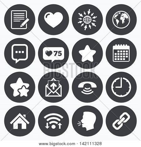Calendar, wifi and clock symbols. Like counter, stars symbols. Mail, contact icons. Favorite, like and internet signs. E-mail, chat message and phone call symbols. Talking head, go to web symbols. Vector