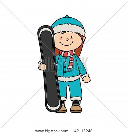 kid child girl smile snowboard winter sport jacket hat clothing snow  vector graphic isolated and flat illustration