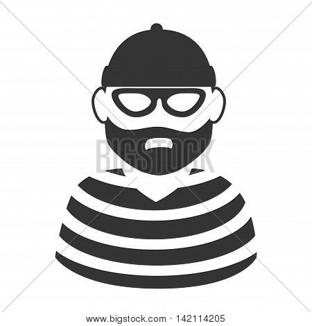 hat beard mask thief criminal prisioner person man striped vector graphic isolated and flat illustration