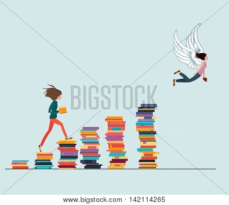 Knowledge Gives Wings: Girls reading a book