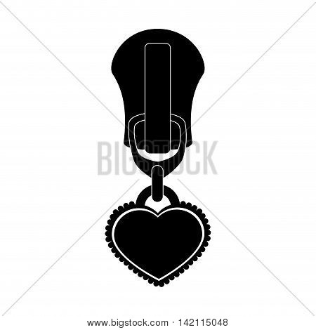 heart icon love zipper zippered zip style teeth sewing textile vector graphic isolated and flat illustration