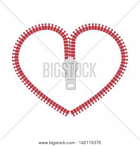 zip heart love zipper purse open object romance vector graphic isolated illustration