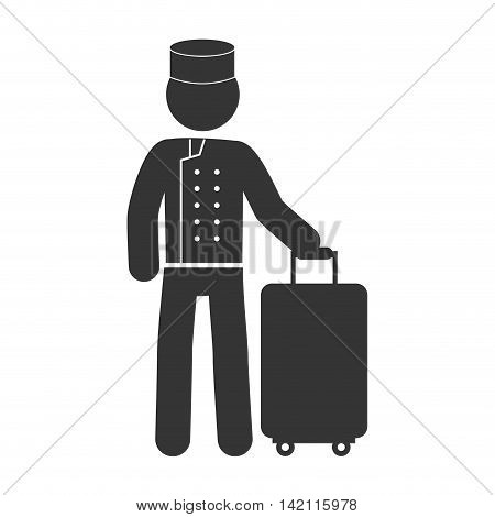 bellboy bellman baggage man male hotel person uniform hat vector graphic isolated illustration