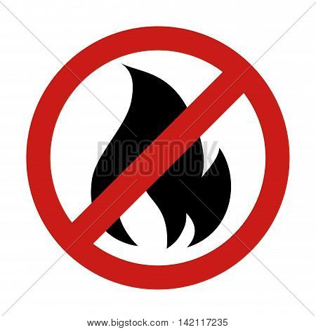forbidden  flame fire sign flammable danger warning burn vector graphic isolated illustration