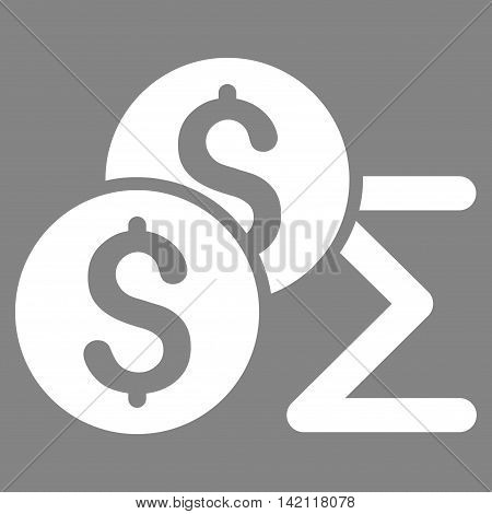 Coin Summary icon. Vector style is flat iconic symbol with rounded angles, white color, gray background.
