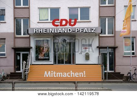 MAINZ, GERMANY - JULY 14: The entrance of the party headquarters of the Christian Democratic Union of Rhineland Palatinate on July 14, 2016 in Mainz.