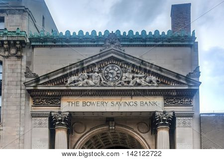 New York City - July 31, 2016: The Bowery Savings Bank opened in 1834 at the site of what is now 128-130 Bowery in Manhattan.