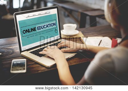 Online Education Studying E-Learning Technology Concept