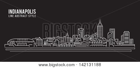 Cityscape Building Line art Vector Illustration design - Indianapolis city