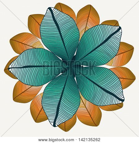 vector round pattern with two lines of colored leaves. Symmetry circle. Foliage
