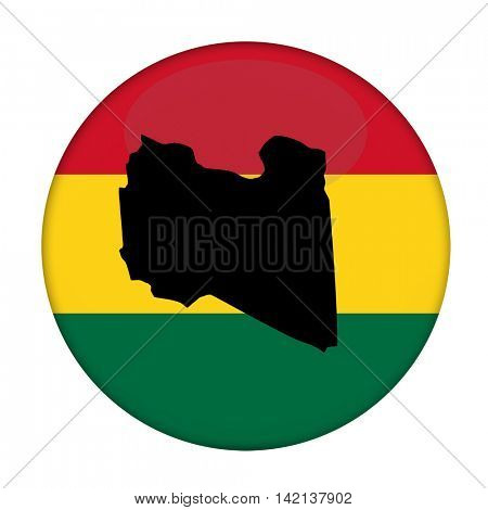 Libya map on a Rastafarian flag button, white background.