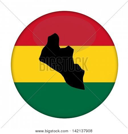 Liberia map on a Rastafarian flag button, white background.