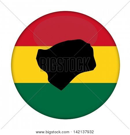 Guinea-Bissau map on a Rastafarian flag button, white background.
