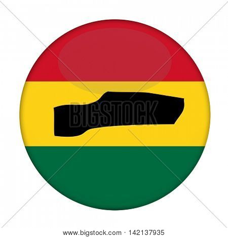 Gambia map on a Rastafarian flag button, white background.