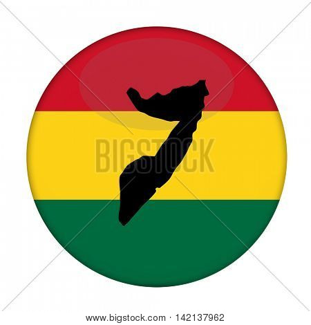 Somalia map on a Rastafarian flag button, white background.