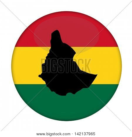 Ethiopia map on a Rastafarian flag button, white background.