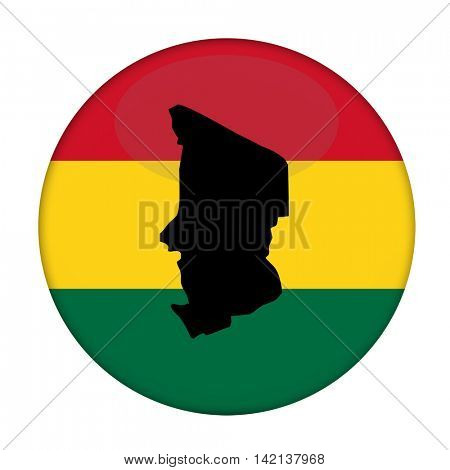 Chad map on a Rastafarian flag button, white background.