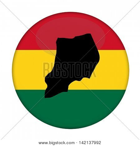 Uganda map on a Rastafarian flag button, white background.