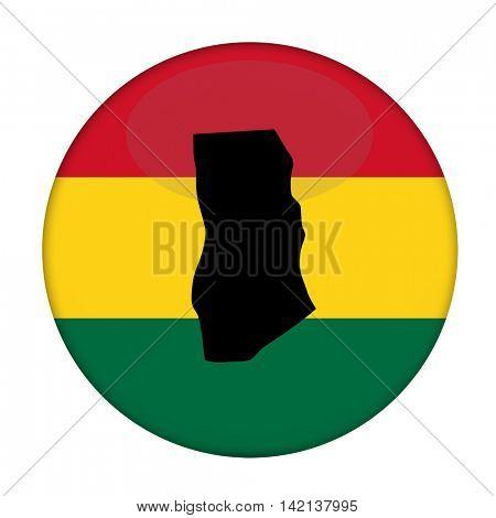 Ghana map on a Rastafarian flag button, white background.