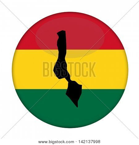 Malawi map on a Rastafarian flag button, white background.