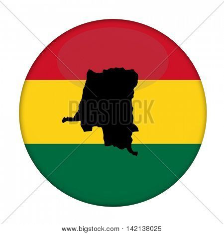 Zaire map on a Rastafarian flag button, white background.