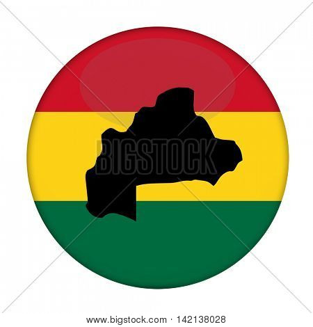 Burkina map on a Rastafarian flag button, white background.