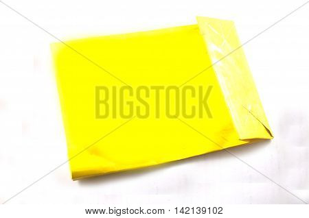 Empty Yelow shop bags on white background