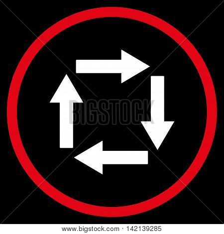 Circulation Arrows vector icon. Style is bicolor flat rounded iconic symbol, circulation arrows icon is drawn with red and white colors on a black background.