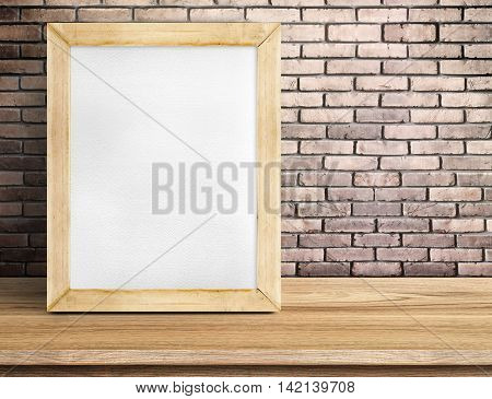 Blank Paper White Board On Wooden Table At Red Brick Wall,template Mock Up For Adding Your Design An