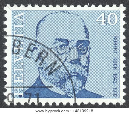 MOSCOW RUSSIA - CIRCA APRIL 2016: a post stamp printed in SWITZERLAND shows a portrait of Robert Koch the series